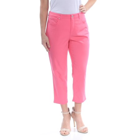 CHARTER CLUB Womens Pink Pocketed Zippered Cropped Jeans  Size: 14