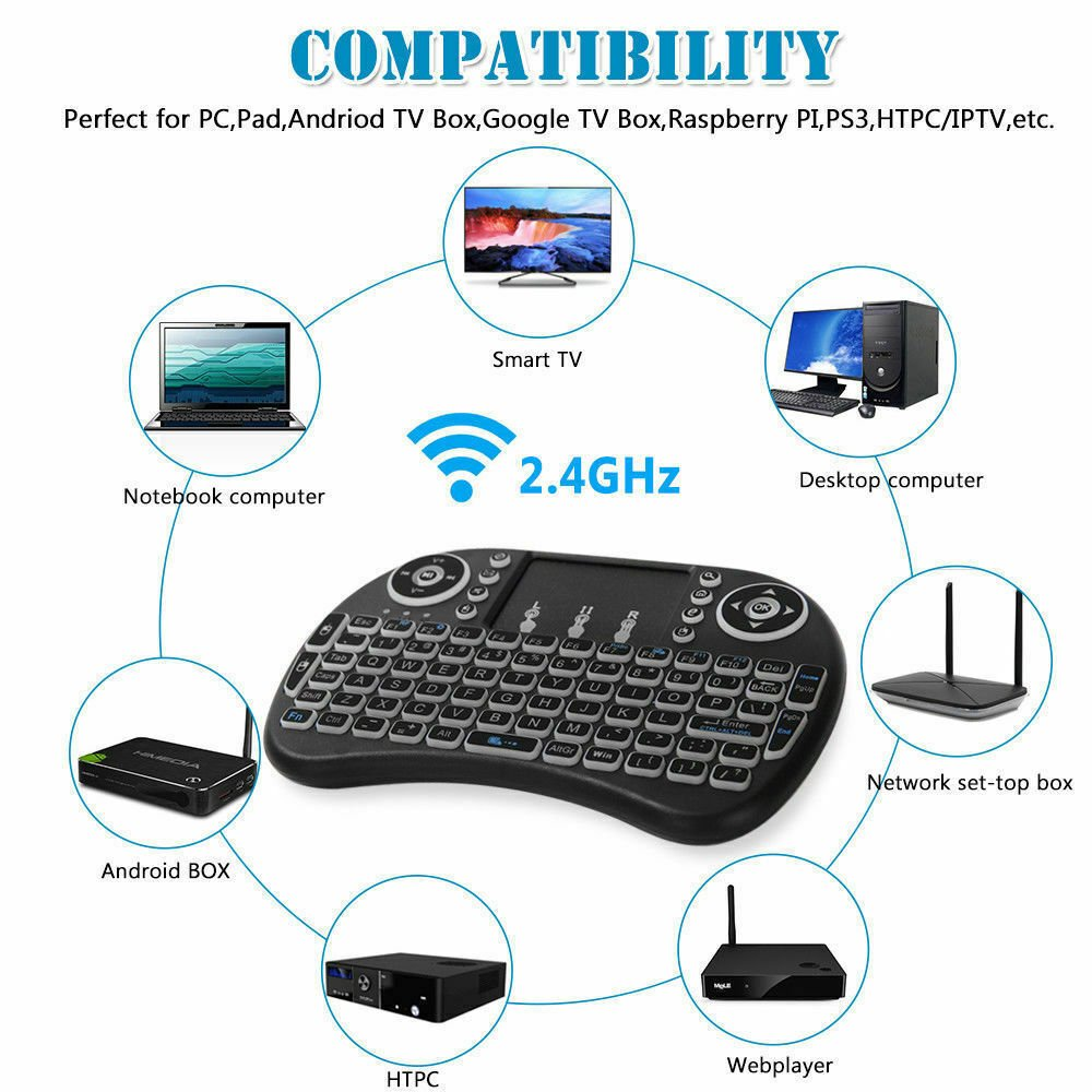 RGB 2 4GHz Mini Wireless Keyboard + Mouse with Touchpad For