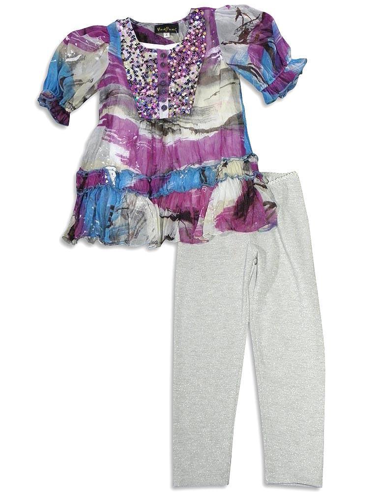 Hannah Banana by Sara Sara Short Sleeve 2 Piece Pant Sets Outfits, 26439 blue/purple/silver / 6X