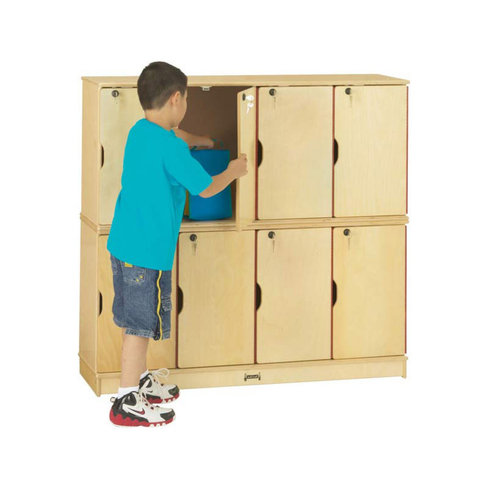 Jonti-Craft Stacking Lockable Lockers - 8 Sections - Double Stack