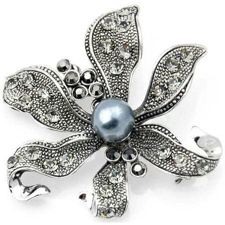 Vintage Flower Pin Brooch (Vintage Style Black Flower Pearl Pin Brooch and)