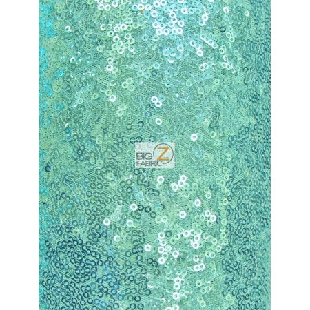 Mini Disc Sequin Nylon Mesh Fabric / Shiny Aqua / Sold By The Yard