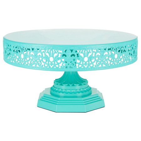 Amalfi Décor 12 Inch Round Metal Wedding Cake Stand (Teal) | Stainless Steel Frame