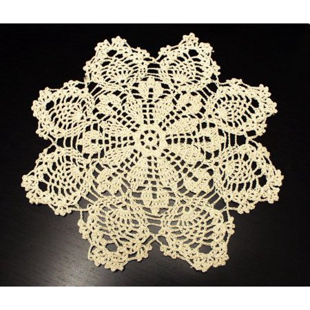 Handmade Crochet Lace Pineapple Beige Doily. 12 Inch Round. 100% Cotton. 4 - 12 Inch Paper Doilies Bulk
