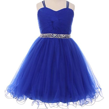 Big Girls Elegant Twist Wired Tulle Rhinestones Beaded Waist Scarf Gown Flower Girl Dress Flower Girl Dress Royal 8 (C50CC19)