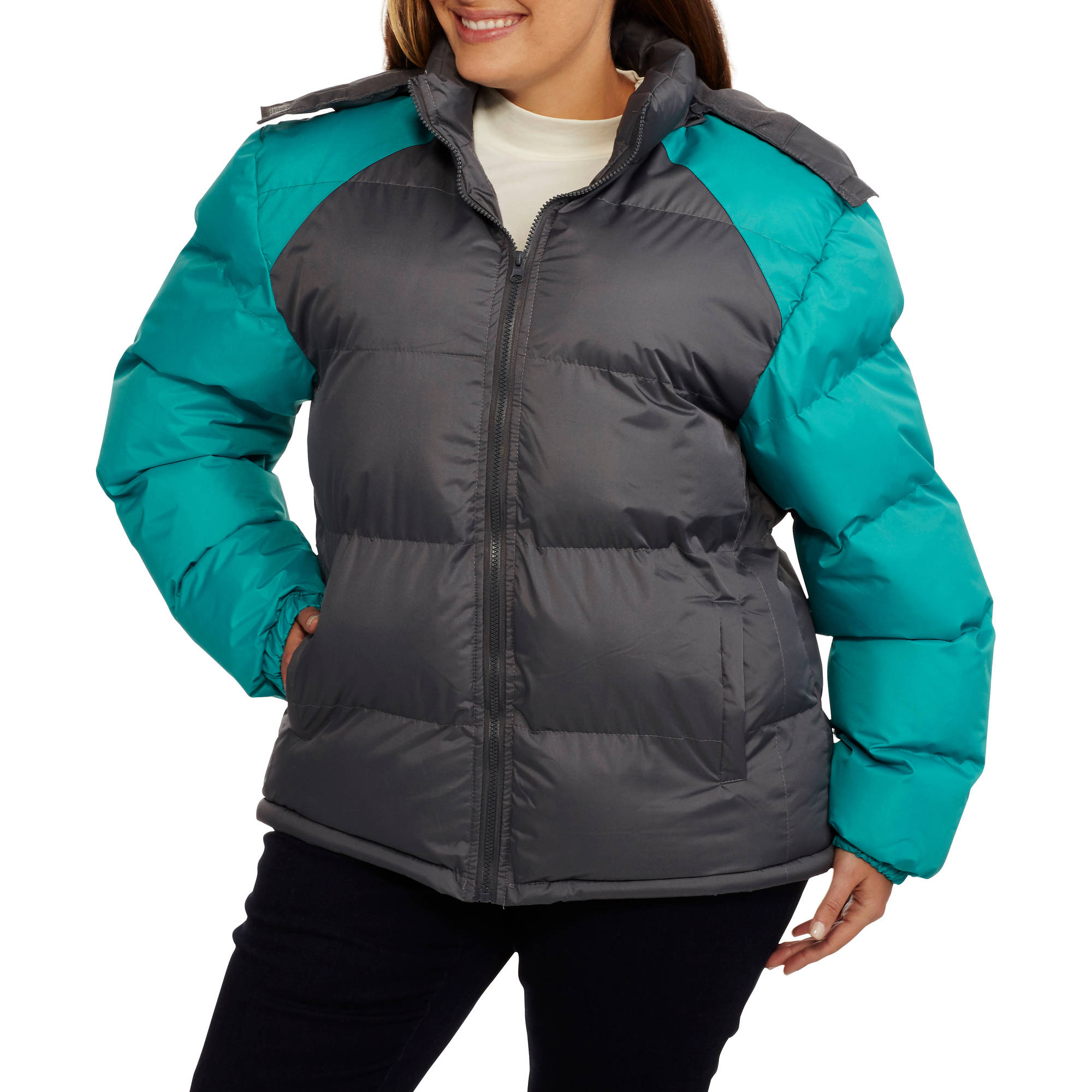 Climate Concepts Women's Plus-Size Colorblock Hooded Puffer Coat with Cozy Microfleece Lining