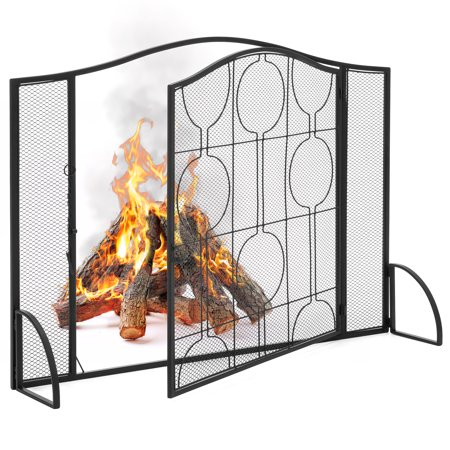 Best Choice Products Single-Panel Living Room Heavy-Duty Steel Mesh Fireplace Screen Decor w/ Locking Door - Black