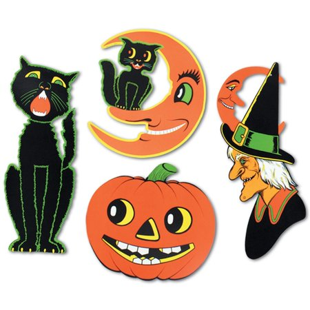 Club Pack of 24 Halloween Black Cat, Witch, Cat & Moon and Pumpkin 2 Sided Design Cutout Decorations