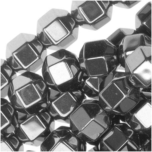 Steel Grey Hematite 6mm Hexagon Beads 15.5 Inch Strand