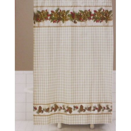 Saturday Knight Woodland Holiday Vinyl Shower Curtain Christmas Decor