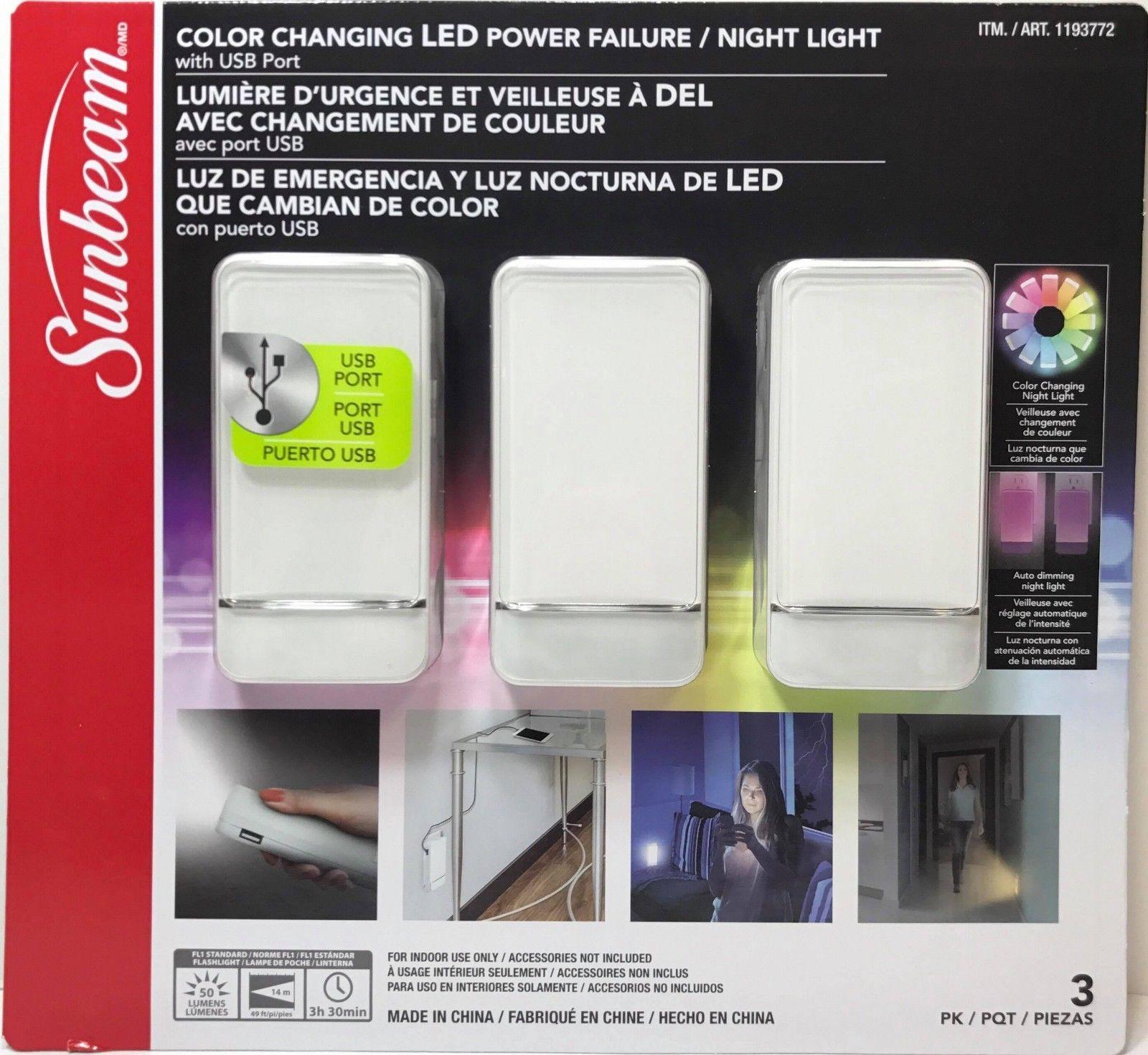 Sunbeam Color Changing Led Power Failure Night Light 3 Pk White