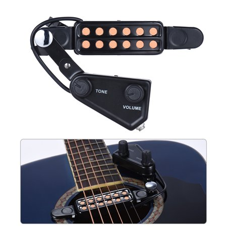 12-hole Acoustic Guitar Sound Hole Pickup Magnetic Transducer with Tone Volume Controller Audio