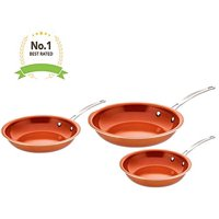 Award Winning Non Stick Copper Ceramic 3 Piece Pan Set - Round Skillet Frying Pan - Even Heating with Induction Bottom Steel Handle