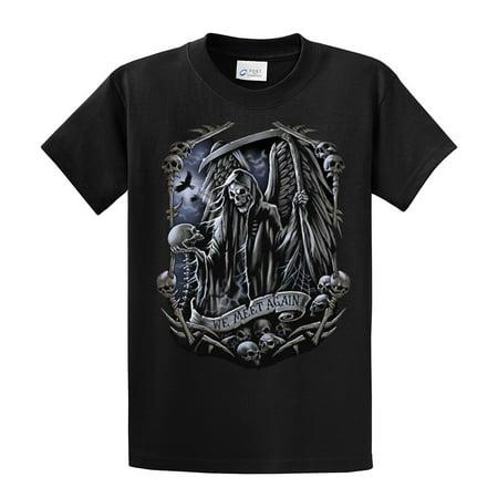 Biker T-Shirt Grim Reaper We Meet Again-Black-Large (Mens Gothic Biker Clothes)