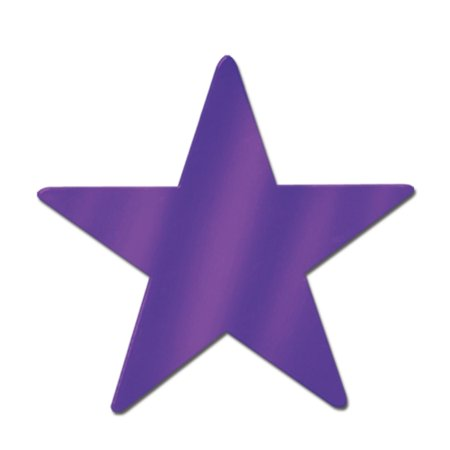Club Pack of 24 Starry Night Themed Purple Metallic Foil Star Cutout Party Decorations 15