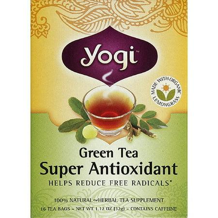 Yogi Green Tea Super Antioxidant Herbal Supplement Tea Bags, 1.12 oz, (Pack of 6)