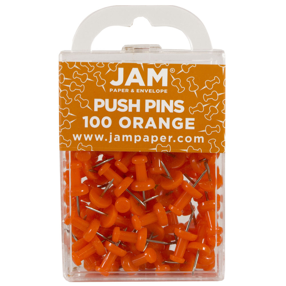 JAM Paper Push Pins - Orange Pushpins - 2/Pack