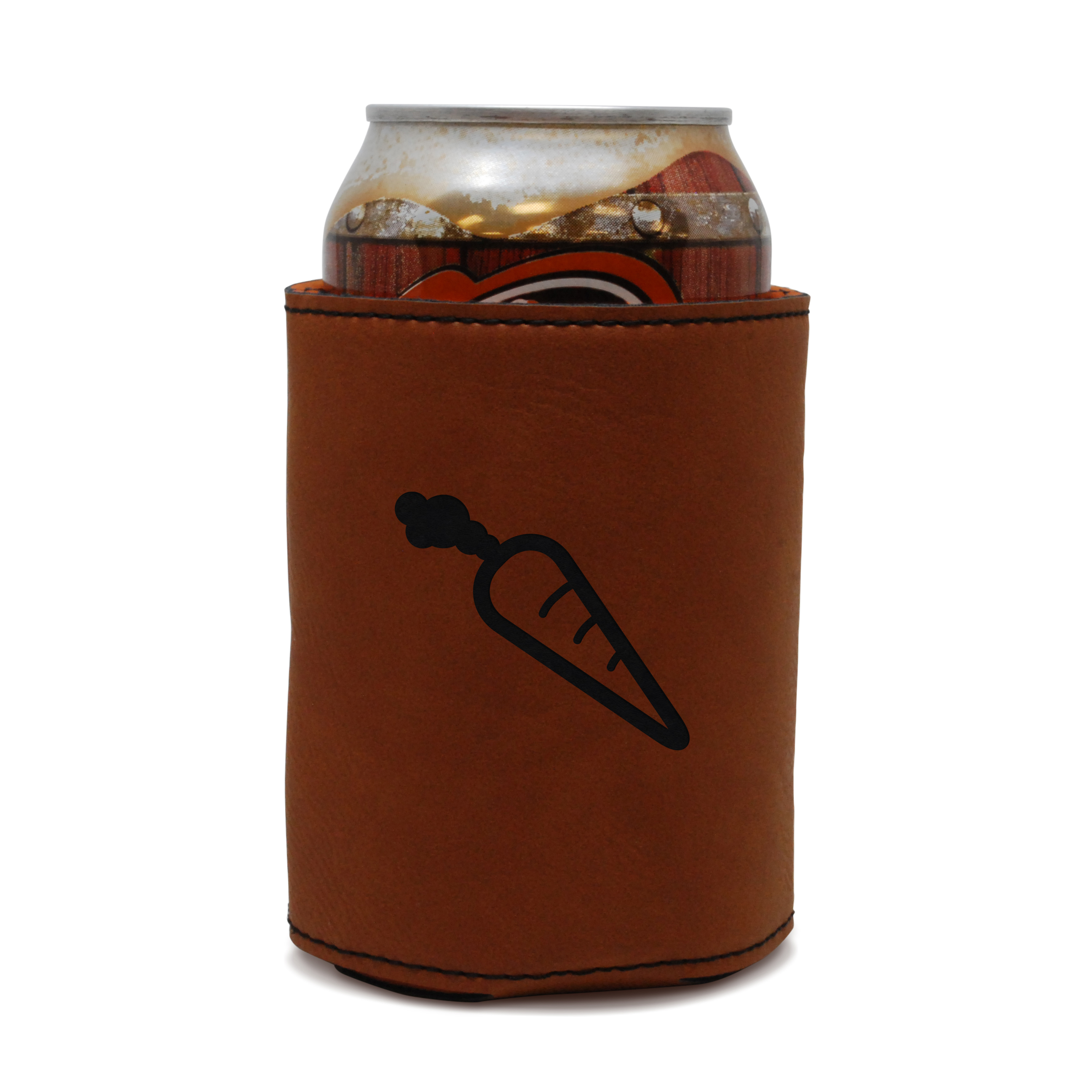 Carrot Leather Can Sleeve, Beer Sleeve, Beer Cooler, Beer Hugger