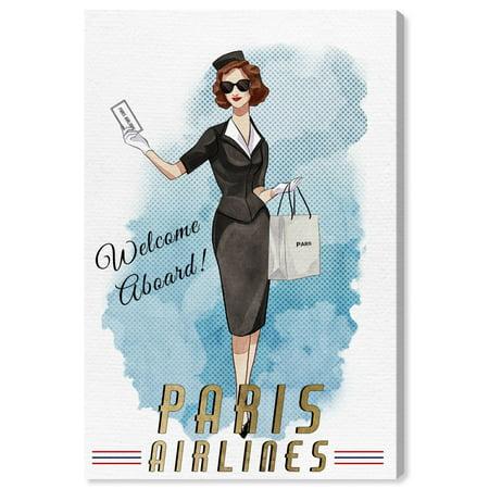 Wynwood Studio 'Paris Stewardess' Fashion and Glam Wall Art Canvas Print - White, Gold, 24