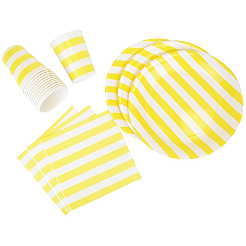 Just Artifacts Disposable Party Tableware 44pcs Striped Pattern Dining Set (Round Plates, Cups, Napkins) - Color: Yellow - Decorative Tableware for Parties, Baby Showers, and Life Celebrations!