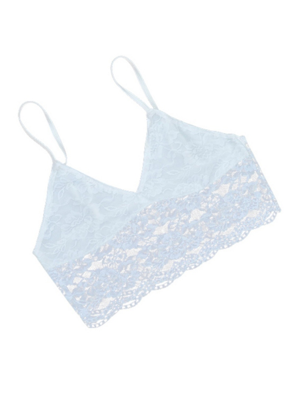 Ropalia Women Lace V-Neck Translucent Sheer Bralette Triangle Beach Bikini Tops