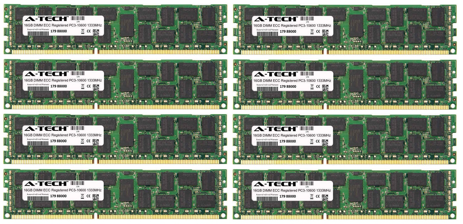 128GB Kit 8x 16GB Modules PC3-10600 1333MHz ECC Registered DDR3 DIMM Server 240-pin Memory Ram
