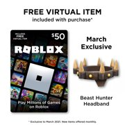 Roblox $50 Digital Gift Card Includes Exclusive Virtual Item