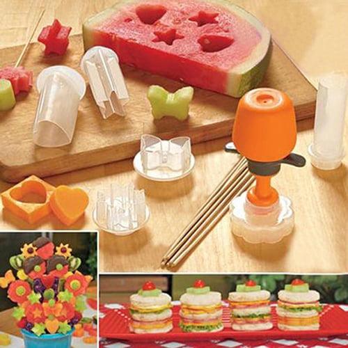 Girl12Queen 6Pcs Fruit Cutter Maker Shaper Cake Twister Slicer Food Decorator Tool
