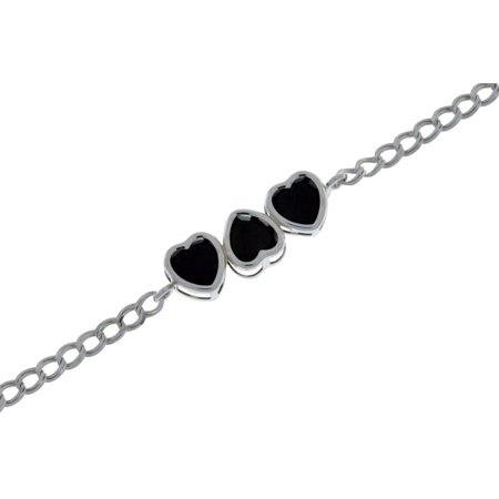 Black Onyx Bezel - 3 Carat Black Onyx Heart Bezel Bracelet .925 Sterling Silver