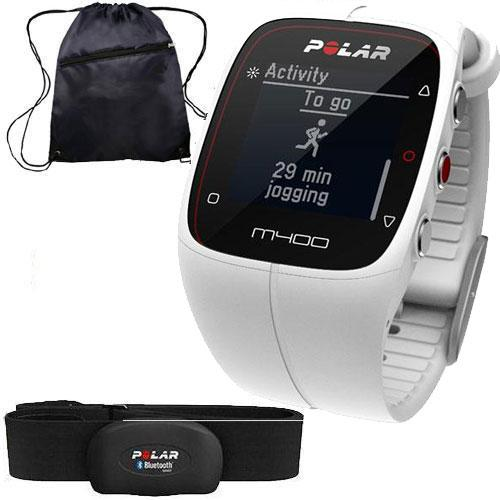 Polar 90051345 - M400 GPS Training Companion with Heart Rate and Bag - White