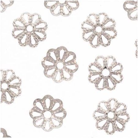 Bright Silver Plated Delicate Flower Bead Caps 6mm X50 - Blad Cap