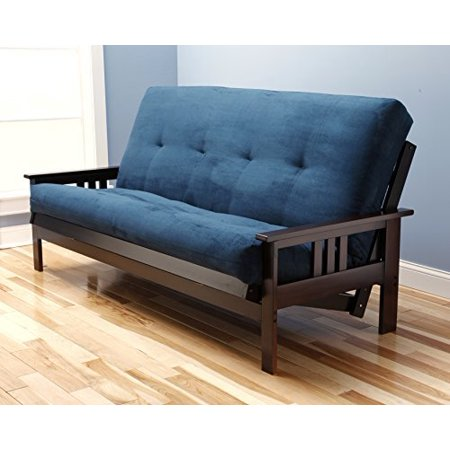 Queen Size Futon Frame and Mattress Set in Espresso and Navy