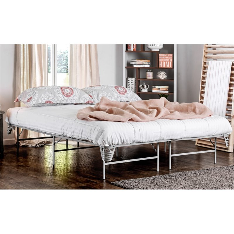 furniture of america polosa california king bed frame in silver