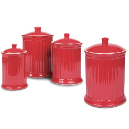Omniware Simsbury Red Stoneware Canister  Set Of 4