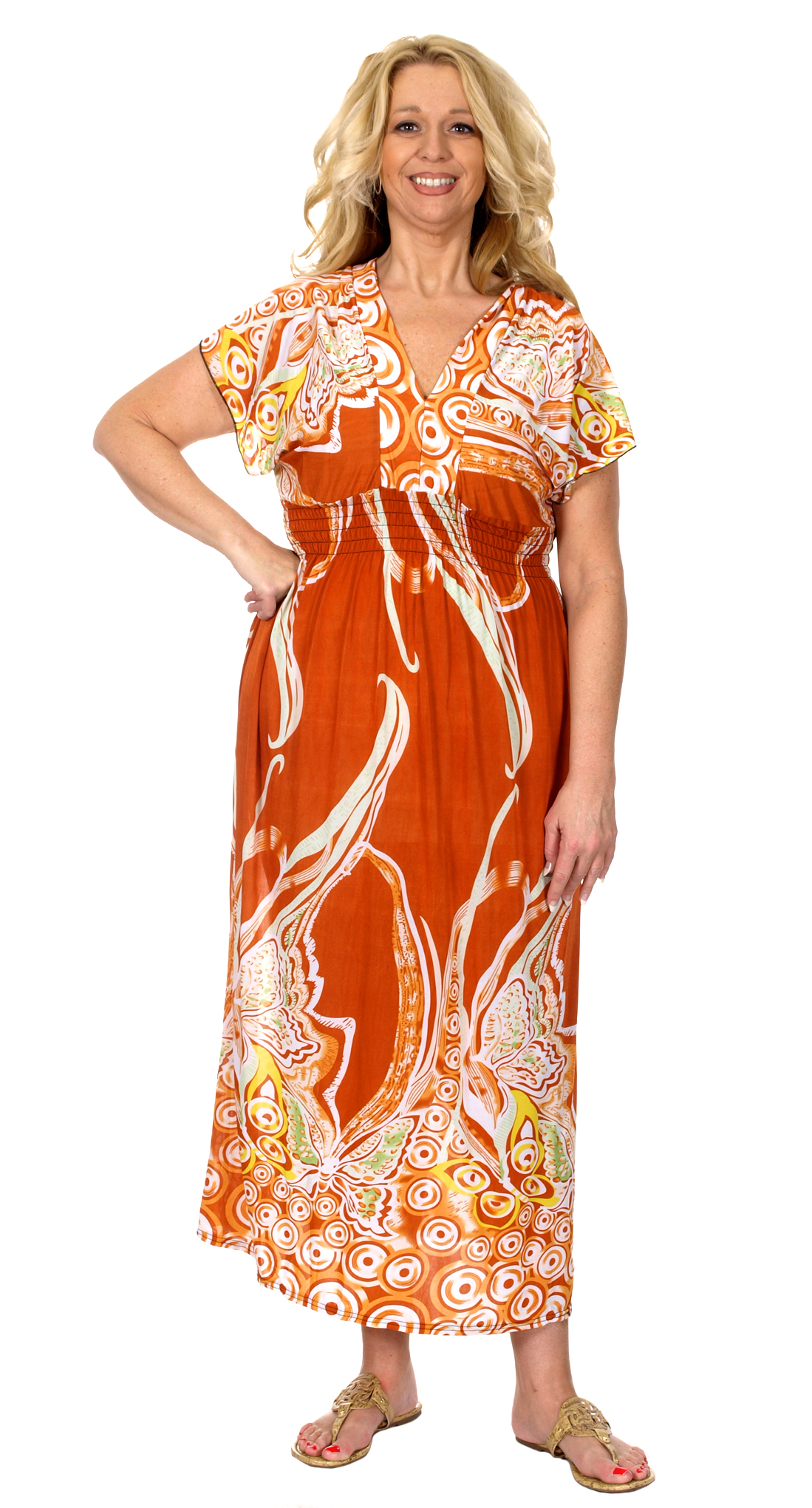 Women\'s Plus Size Summer Maxi Dress with a V-Neckline & Cropped Sleeves