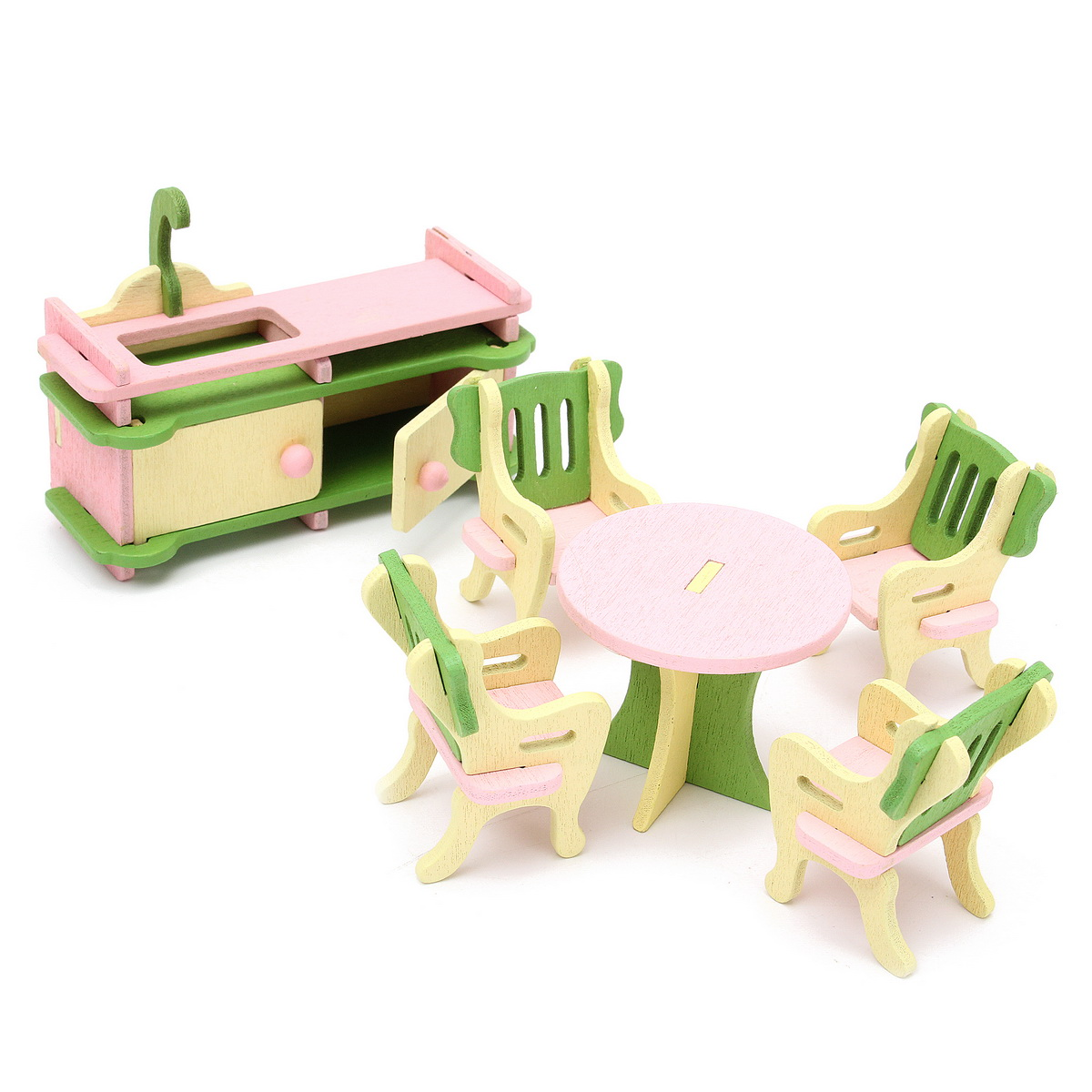 Wood Family Doll Dollhouse Furniture Set, Pink Miniature Kitchen/Guest Room/Bathroom/Bedroom House Furniture Dollhouse Decoration accessories Kids Toy Gift,Kitchen color