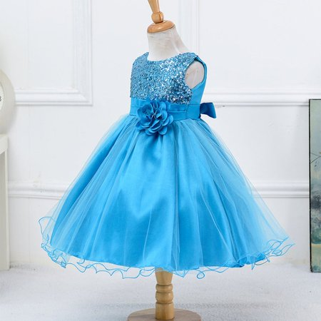 Sky Blue Children Girls Sequins Grenadine Bubble Princess One-piece Dress - image 4 of 7