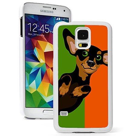 Samsung Galaxy S5 Hard Back Case Cover Cute Dachshund Pop Art (White) ()