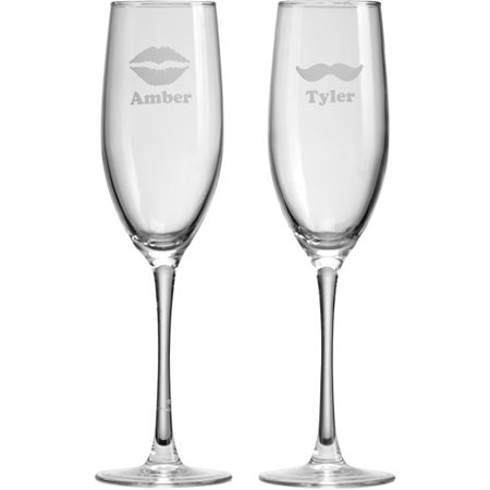 Personalized Lips and Mustache Champagne Flutes, Set of 2 - Personalized Champagne Glasses