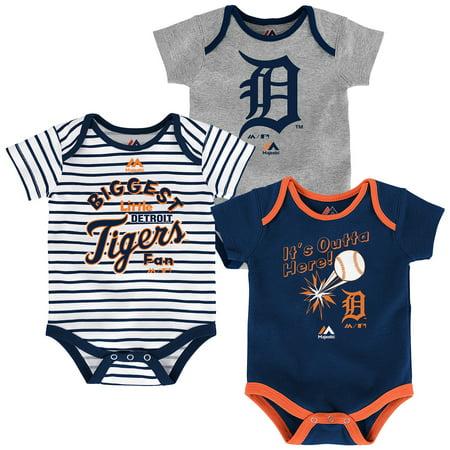 Detroit Tigers Majestic Newborn & Infant Home Run 3-Pack Bodysuit Set - - Tigger Onesie