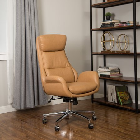 Glitzhome Leatherette Office Chair Adjustable Height Swivel Executive Chair, Camel Director Leatherette Office Chair