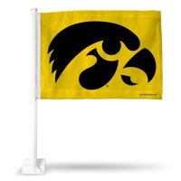 UNIVERSITY/IOWA CAR FLAG(YELLOW BACK)