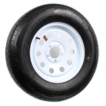 Radial Trailer Tire On Rim ST205/75R15 205/75-15 15 5 Lug Wheel White Modular