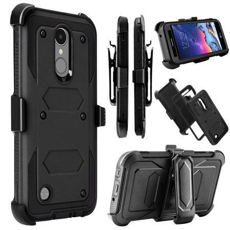 LG K8 2017 Case, LG Tribute Dynasty Case, LG Aristo 2 Case, Mignova Heavy Duty Shockproof Full Body Protection Rugged Case Cover with Swivel Belt Clip and Kickstand for LG Phoenix 3 / Fortune(Black)