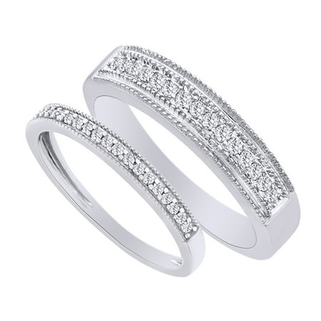 Cut Diamond Ring Band - Round Cut White Natural Diamond His and Hers Wedding Band Ring Set in 14K White Gold (0.38 Cttw)