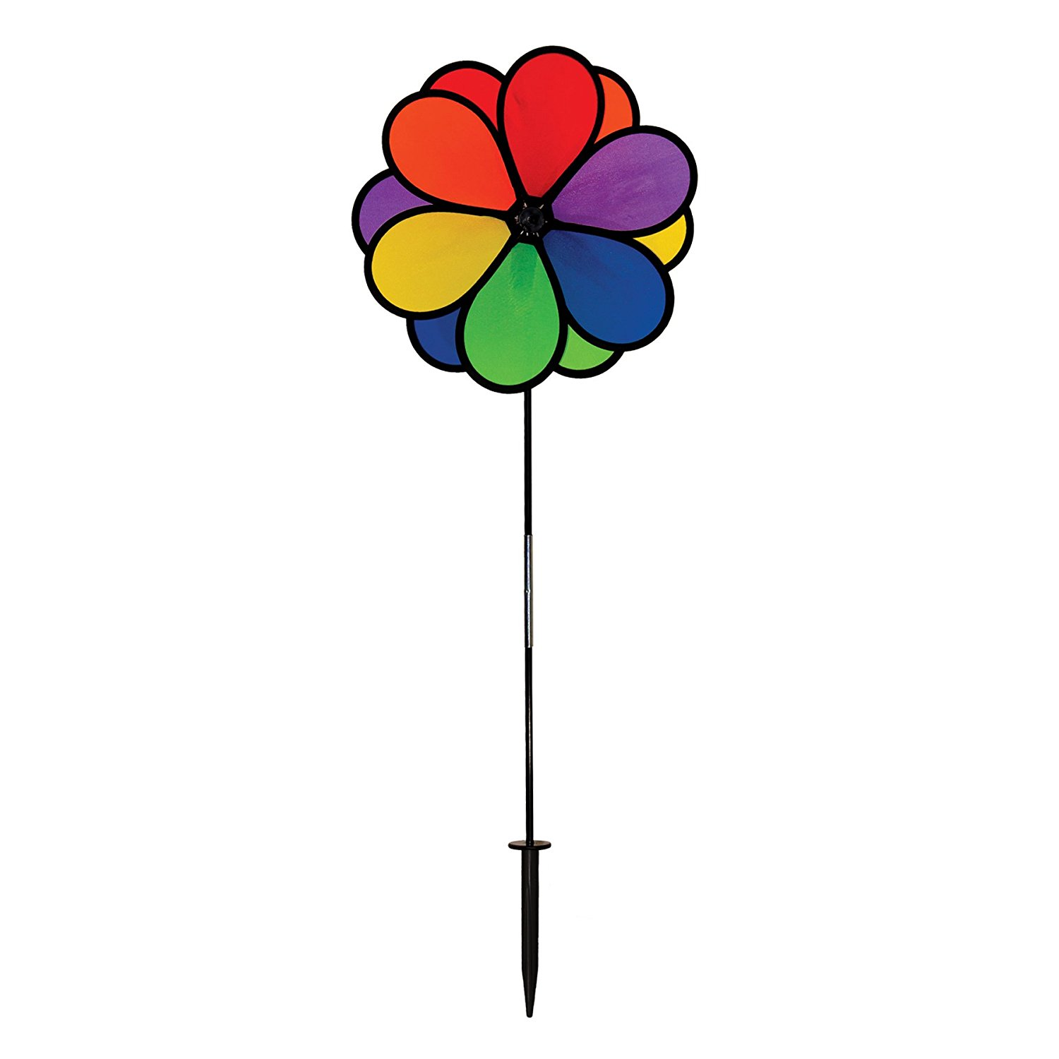 14 Inch Rainbow Double Dazy Flower Colorful Wind Spinner for your Yard and Garden, In the... by