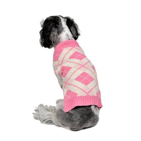 RWB Pet Classic Argyle Holiday Dog Sweater Pink