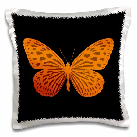 3dRose Design of a brown an orange color butterfly on black background - Pillow Case, 16 by 16-inch