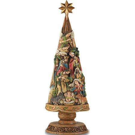 Stone Resin Nativity Christmas Tree Figurine