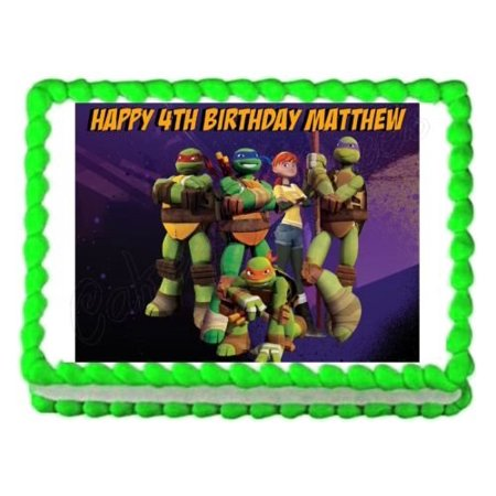 TMNT Teenage Mutant Ninja Turtles party edible cake sheet frosting cake topper - Ninja Turtle Baby Shower Cake